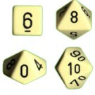 Chessex Opaque Ivory with Black 7-dice Polyhedral RPG Dice Set
