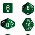 Chessex Opaque Green with White 7-dice Polyhedral RPG Dice Set