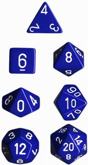 Chessex Opaque Blue with White 7-dice Polyhedral RPG Dice Set