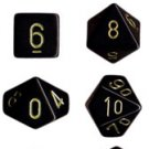 Chessex Opaque Black with Gold 7-dice Polyhedral RPG Dice Set