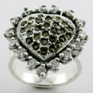 GORGEOUS GENUINE MARQUISATE & CREATED DIAMOND STERLING 925 SILVER RING