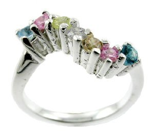 AMAZING CREATED MULTI GEMS STERLING 925 SILVER RING