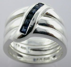 GRACEFUL CREATED BLUE SAPPHIRE Sterling 925 Silver RING