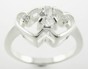 BEAUTIFUL CREATED DIAMOND STERLING 925 SILVER RING