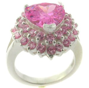 EXCELLENT CREATED PINK  STERLING 925 SILVER RING