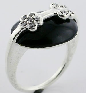 EXCELLENT BLACK ONyX Sterling 925 Silver RING