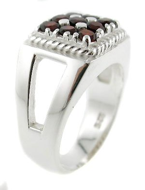 STUNNING GENUINE GARNET STERLING 925 SILVER MENS RING