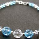 AMAZING CREATED AQUAMARINE & DIAMOND  925 Silver BRACELET