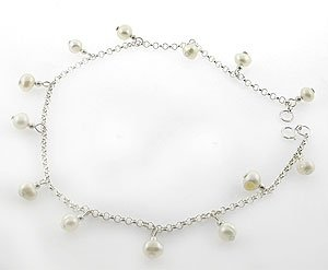 BEAUTIFUL CREATED WHITE PEARL STERLING 925 SILVER BRACELET