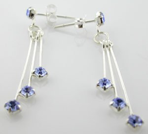 WONDERFUL CREATED BLUE SAPPHIRE STERLING 925 SILVER EARRINGS