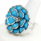Blue Silver Flower Ring