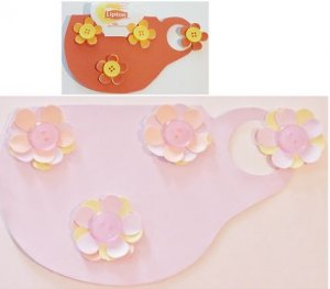 Scrapbook Paper Tea Cup Pocket With Flowers - pt13