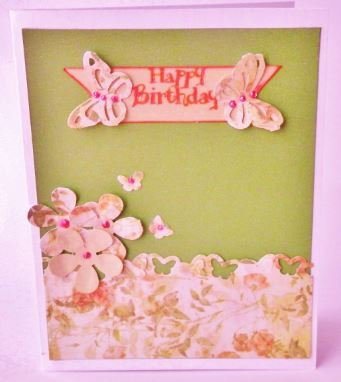 Happy Birthday Card - Butterfly Garden Themed