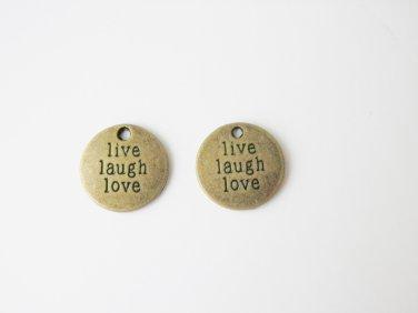 2 pcs Antique Bronze Live Laugh Love Charm