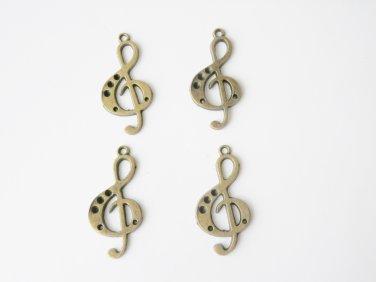 4 Pcs Bronze Music Note Charm - B14731