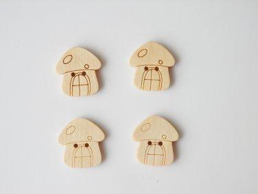 4 Pcs Wood Mushroom Home Charms/Buttons