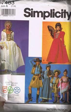 Simplicity 7483 Girls' Historical Costumes SZ 7-14