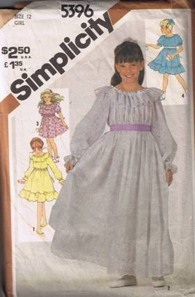 Simplicity 5396 Girls' Pullover Dress in Two Lengths Size 12 - Cut and Complete