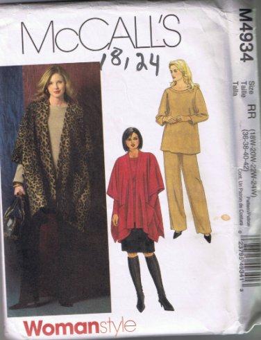 McCalls 4943 - Women's Jacket, Top, Skirt, Pants - Sizes 18W-20W-22W-24W UNCUT / FACTORY FOLDED