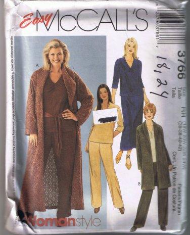 McCalls 3766 Women's & Petite Sweater Coat, Top, Pants, Skirt - Sizes 18W, 20W, 22W, 24W - UNCUT