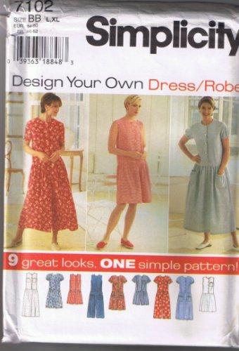 Simplicity 7102 - Misses / Petite Dress and Romper - Size L, XL (18-24) - UNCUT