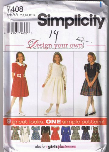 "Simplicity 7408 - Girl's / Girl's Plus ""design your own"" Dress - Sizes 7-14 - Uncut / Factory Folded"