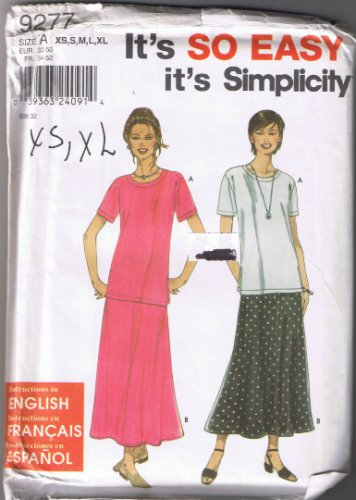 Simplicity 9277 - Misses' Top and Skirt - Sizes XS, S, M, L, XL (6-24) - UNCUT Factory Folded