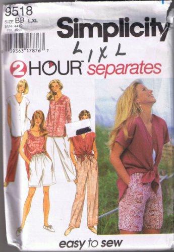 Simplicity 9518 - Misses' Separates; Pants, Shorts, Tank Top, Shirt - Sizes L, XL (18-24) - UNCUT