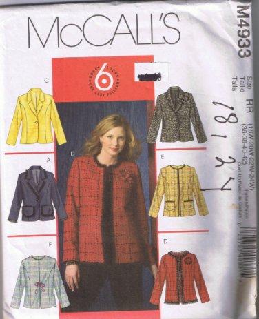 McCall's 4933 Women's / Women's Petite Lined Jacket Sizes 18W 20W 22W 24W UNCUT Factory Folded