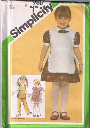 Simplicity 9817 Child's Dress, Tabard, Pants Size 4 UNCUT/Factory Folded