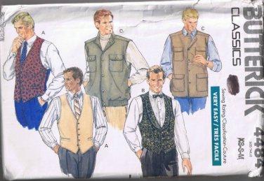 Butterick Classics 4484 Men's Vest - 5 Styles - Sizes XS, S, M - UNCUT / Factory Folded