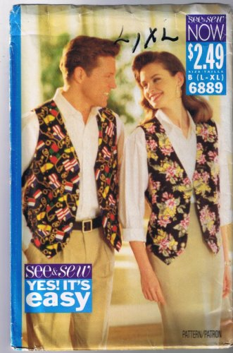 Butterick See & Sew 6889 - Very Easy VEST - Sizes L, XL (42-48) UNCUT / Factory Folded