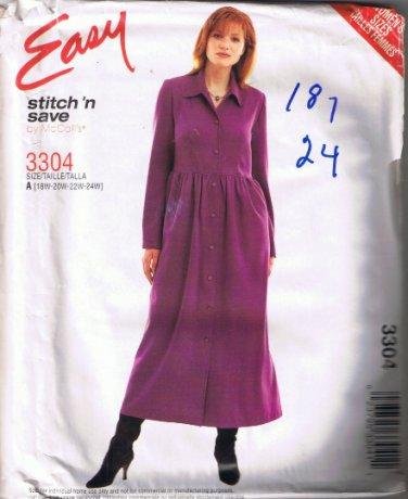 McCall's 3304 Stitch n Save Women's Dress Sizes 18W 20W 22W 24W - UNCUT