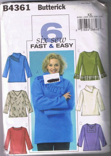Butterick 4361 - Women's and Petite Top - Sizes 26W-32W - UNCUT Factory Folded
