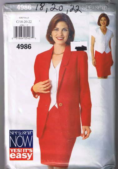 Butterick 4986 Misses' Jacket, Top, Skirt - Sizes 18, 20, 22 - UNCUT Factory Folded