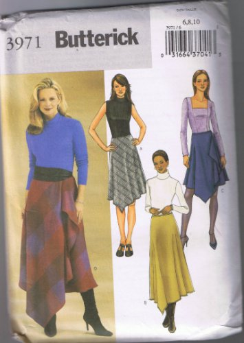 Butterick 3971 Misses' Asymmetrical Skirt Flared, Overlay with Flounce - Sizes 6-8-10 UNCUT