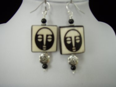Tibetian Bone Moon Face Earring