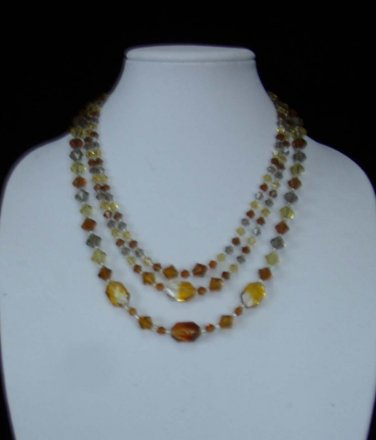 Three Strand  Tri-Color Amber Glass Crystal Necklace