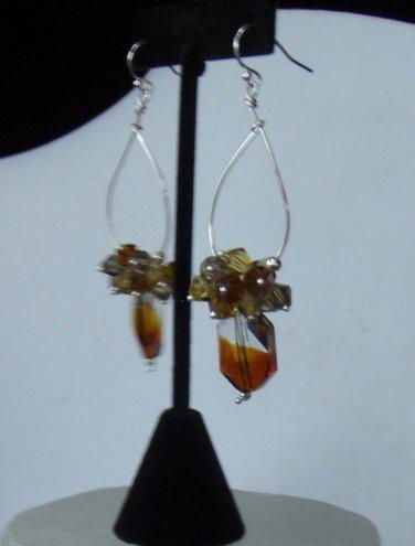 Amber tri- Colored Glass Earrings