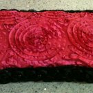 Beautiful Pink Taffeta Diaper wipe case with black pearl rose trim-New Mom must have