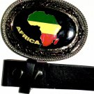 Africa - Belt Buckle with Leather Black Belt