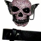 Pink Skeleton - Belt Buckle with Leather Black Belt