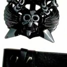 Skull w/knif - Belt Buckle with Leather Black Belt