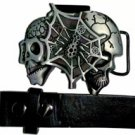 Skull w/Webb - Belt Buckle with Leather Black Belt & Lighter