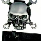 Skull - Belt Buckle with Leather Black Belt & Lighter
