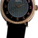 Geneva Mens Leather Band Watches - Black Face
