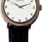 Geneva Mens Leather Band Watches - White Face