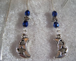 Moon and Stars Dangle  Ear Threader Earrings SS