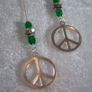 "PEACE  5"" Ear Threads Sterling Silver"