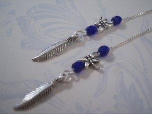 Feather Charm Ear Threader Earrings